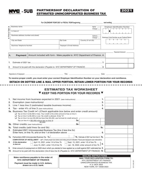 Form NYC-5UB 2021 Printable Pdf