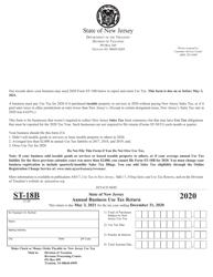 "Form ST-18B ""Annual Business Use Tax Return"" - New Jersey"