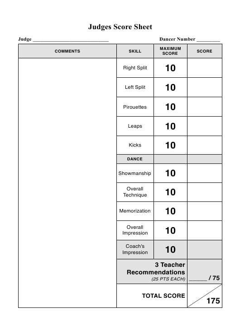 Dance Team Judges Score Sheet Template Download Printable PDF