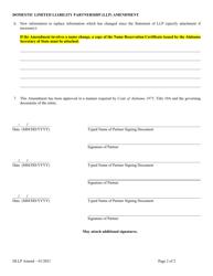 """Domestic Limited Liability Partnership (LLP ) Amendment to Statement of Limited Liability Partnership"" - Alabama, Page 2"