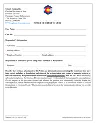 "Form CPF-47 ""Notice of Intent to Cure"" - Colorado"
