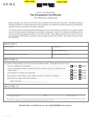 "Form AR-MS ""Tax Exemption Certificate for Military Spouse"" - Arkansas"