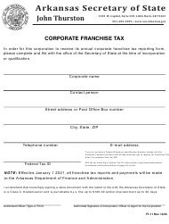 "Form FT-11 ""Corporate Franchise Tax"" - Arkansas"