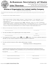 "Form LL-01 ""Articles of Organization for Limited Liability Company"" - Arkansas"