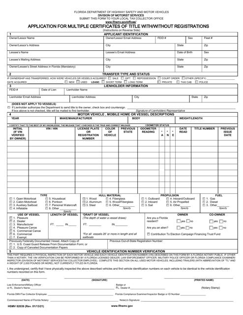 Form HSMV82039 Printable Pdf