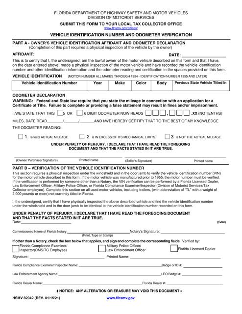 Form HSMV82042 Printable Pdf