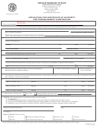 """Form CD239 """"Application for Certificate of Authority for Foreign Benefit Corporation"""" - Georgia (United States)"""