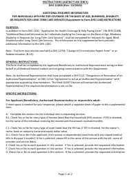 "Instructions for Form DHS1100B ""Supplemental Form for Individuals Applying for Coverage on the Basis of Age, Blindness or Disability and/or Requests for Long-Term Care Services"" - Hawaii"