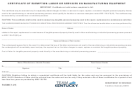 """Form 51A360 """"Certificate of Exemption Labor or Services on Manufacturing Equipment"""" - Kentucky"""