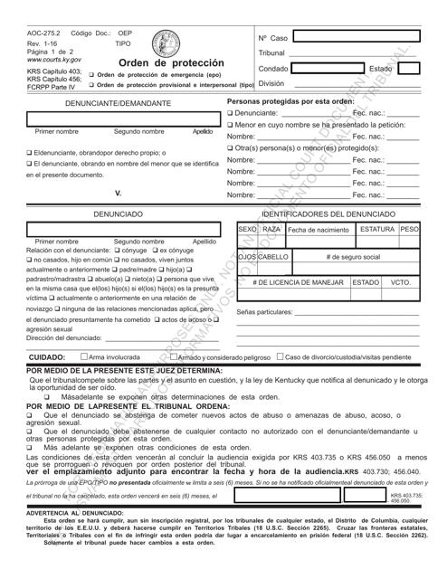 Formulario AOC-275.2  Printable Pdf
