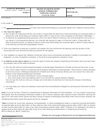 """Form JC44 """"Advice of Rights After Order Terminating Parental Rights (Juvenile Code)"""" - Michigan"""