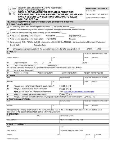 Form B (MO780-1512)  Printable Pdf