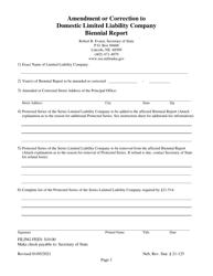 """Amendment or Correction to Domestic Limited Liability Company Biennial Report"" - Nebraska"