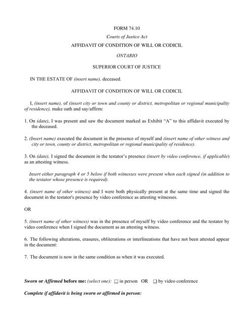 Form 74.10 Printable Pdf