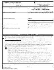 """Form AOC-SP-350 """"Appellate Entries Involuntary Commitment"""" - North Carolina"""
