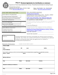 "Form PS-21 ""Renewal Application for Certification or Licensure"" - Oregon"