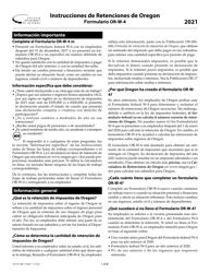 """Instrucciones para Formulario OR-W-4, 150-101-402-5 """"Retenciones De Oregon"""" - Oregon (Spanish), 2021"""