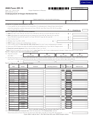 "Form OR-10 (150-101-031) ""Underpayment of Oregon Estimated Tax"" - Oregon, 2020"