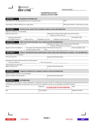 "Form REV-1706 ""Business/Account Cancellation Form"" - Pennsylvania"