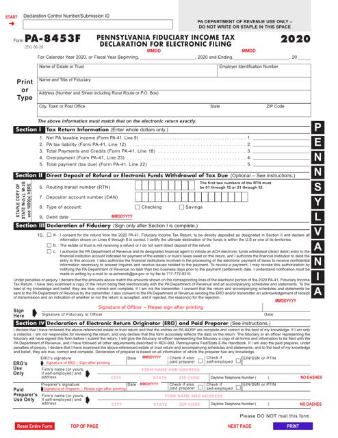 Form PA-8453F 2020 Printable Pdf