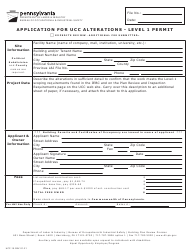 """Form UCC-15 """"Application for Ucc Alterations - Level 1 Permit"""" - Pennsylvania"""
