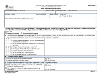 "DSHS Form 15-575 Attachment E ""Esf Resident Interview"" - Washington"