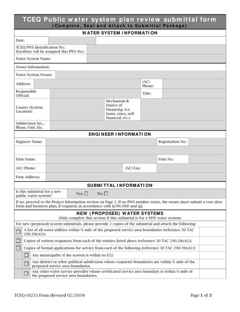 Form TCEQ-10233  Printable Pdf