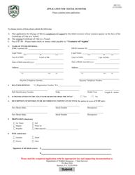 "Form BRT-012 ""Application for Change of Motor"" - Virginia"