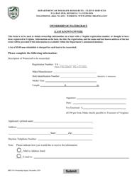 "Form BRT-015 ""Ownership of Watercraft"" - Virginia"