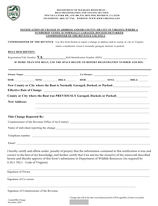 """Notification of Change in Address and/or County or City in Virginia Where a Numbered Vessel Is Normally Garaged, Docked or Parked Commissioner of the Revenue Use Only"" - Virginia Download Pdf"