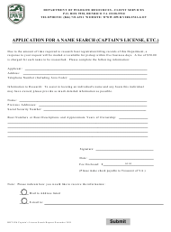"""Form BRT-026 """"Application for a Name Search (Captain's License, Etc.)"""" - Virginia"""