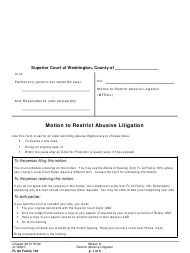 "Form FL All Family154 ""Motion to Restrict Abusive Litigation"" - Washington"