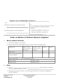 "Form FL All Family155 ""Order on Motion to Restrict Abusive Litigation"" - Washington"