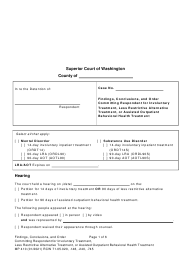 "Form MP410 ""Findings, Conclusions, and Order Committing Respondent for Involuntary Treatment or Less Restrictive Alternative Treatment, or Assisted Outpatient Behavioral Health Treatment (14-day, 90-day Lra, 90-day Aot)"" - Washington"