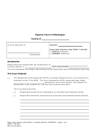 "Form MP470 ""Order After Review Under Rcw 71.05.235"" - Washington"