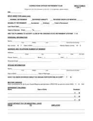 "INPUT Form A ""Corrections Officer Retirement Plan"" - Arizona"