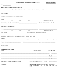 "INPUT Form B SS ""Corrections Officer Retirement Plan"" - Arizona"