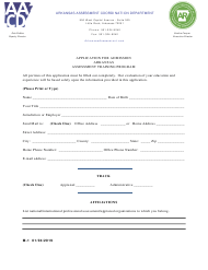 "Form M-1 ""Application for Admission"" - Arkansas"