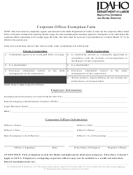 """""""Corporate Officer Exemption Form"""" - Idaho"""