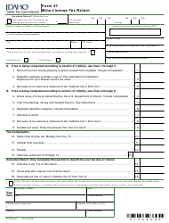 "Form 47 (EFO00048) ""Mine License Tax Return"" - Idaho"
