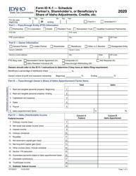 """Form ID K-1 """"Partner's, Shareholder's or Beneficiary's Share of Idaho Adjustments, Credits, Etc."""" - Idaho, 2020"""