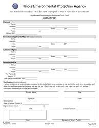 "Form IL532 3060 (LPC713) ""Drycleaner Environmental Response Trust Fund Budget Plan"" - Illinois"