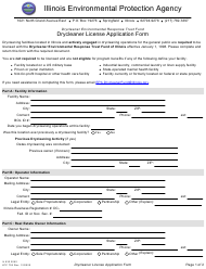 "Form IL532 3052 (LPC705) ""Drycleaner Environmental Response Trust Fund Drycleaner License Application Form"" - Illinois"