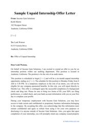 "Sample ""Unpaid Internship Offer Letter"""