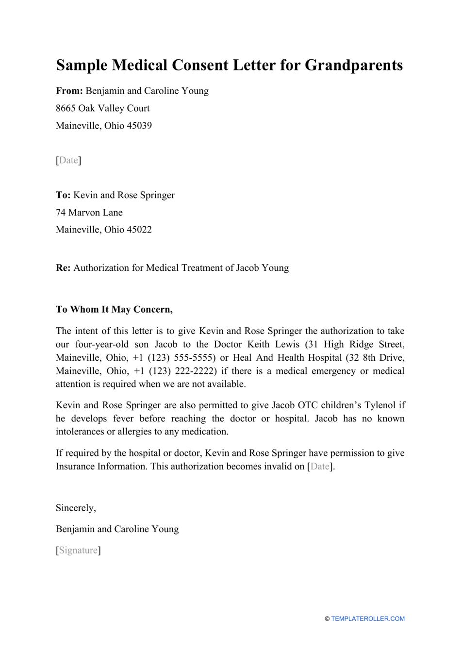 Sample Medical Consent Letter for Grandparents Download Printable ...