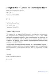 """Sample """"Letter of Consent for International Travel"""""""