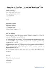 """Sample """"Invitation Letter for Business Visa"""""""