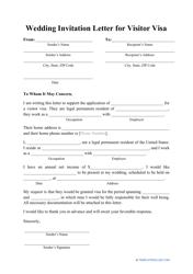 """Wedding Invitation Letter for Visitor Visa Template"""