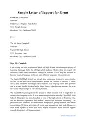 "Sample ""Letter of Support for Grant"""