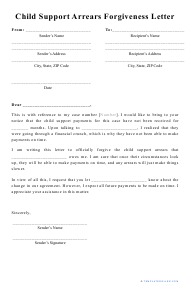 """""""Child Support Arrears Forgiveness Letter Template"""""""